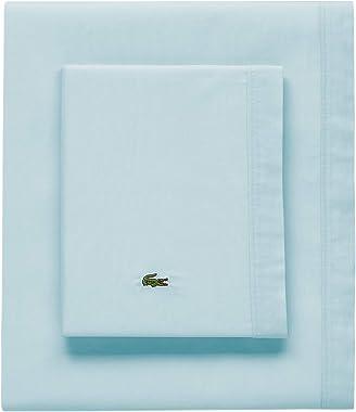 Lacoste Percale Solid Sheet Set, King, Pale Aqua