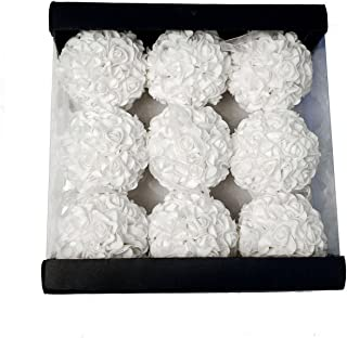 9pcs 3.5'' Artificial Rose Satin Flower Foam Balls for Bridal Wedding Centerpiece Party Ceremony Decoration (White)