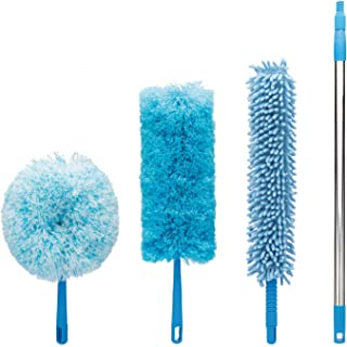 4pcs Best Microfiber Duster with Extension Pole | Large Fluffy Microfiber Cobweb Duster, Extra Large Microfiber Feather Duster, Flexible Microfiber Ceiling & Fan Duster | 4-Foot Telescopic Pole
