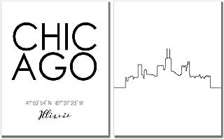 N&T Chicago Skyline Wall Décor Prints - Set of 2 (8x10) Art Photos - Typography Minimalist Poster