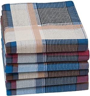 HOULIFE Homme Mouchoirs Tissu Fonc/é en Pur Coton Carreaux Tartan Nature pour Usage Quotidien Lot de 6//12 Pi/èces 43x43cm Cadeau de No/ël