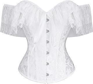 CHARMIAN Women's Steampunk Gothic Elegant Off Shoulder Jacquard Overbust Corset Top