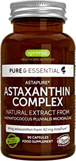 Pure & Essential Natural Astaxanthin Complex, 42 mg AstaPure Delivering 4mg Astaxanthin, with Lutein & Zeaxanthin, 90 Vegan Capsules