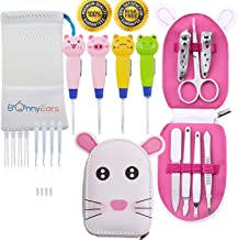 Ear Wax Removal Tool with Led Light for Kids - Toddlers, Infants, Baby and Adult by BonnyEars   Stainless Steel Cute Baby Manicure Kit   Ear Pick Spoon Curette Tweezers Cleaning Set