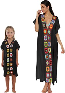1429a6dfff Qunlei Mommy and Me Bikini Swimsuit Cover up Dress V-Neck Family Matching  for Women