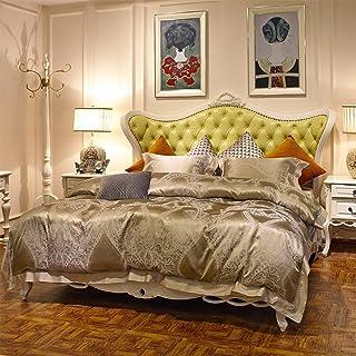200TC European style Silk geometric patterns four set of duvet cover (1Duvet cover 1Sheet 2pillowcase)-A King
