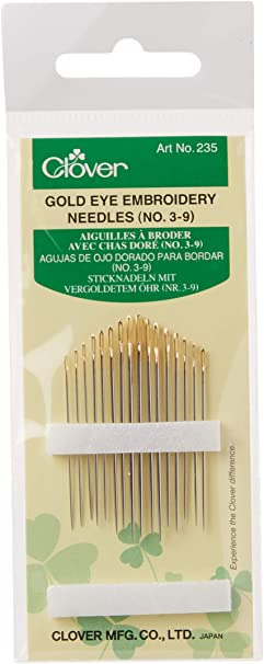 CLOVER No. 3-9 Gold Eye Embroidery Needles (16 Pack)