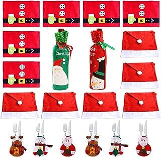 COSORO Decoración de Mesa de Cena de Navidad - 6 Fundas de Sillas de Gorro Navideño, 6 Esteras de Mesa, 6 Tenedores Bolsa para Cubiertos de Navidad, 2 Cubierta de la Botella de Vino de Navidad