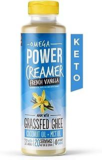 Omega PowerCreamer - French Vanilla Keto Coffee Creamer - Grassfed Ghee, MCT Oil, Organic Coconut Oil, Stevia Powder | Liq...