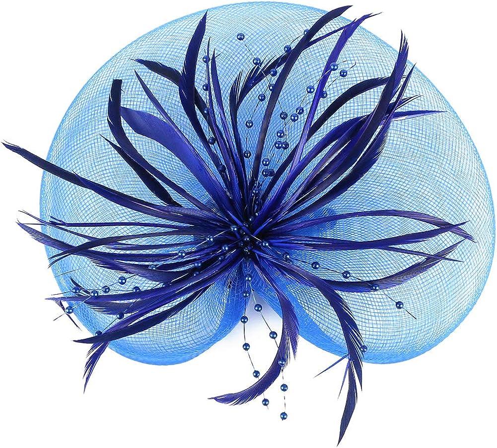 ACTLATI Fascinator Hat for Women Cocktail Charming Big Flower Headband Netting Mesh Hair Band Tea Party Kentucky Derby