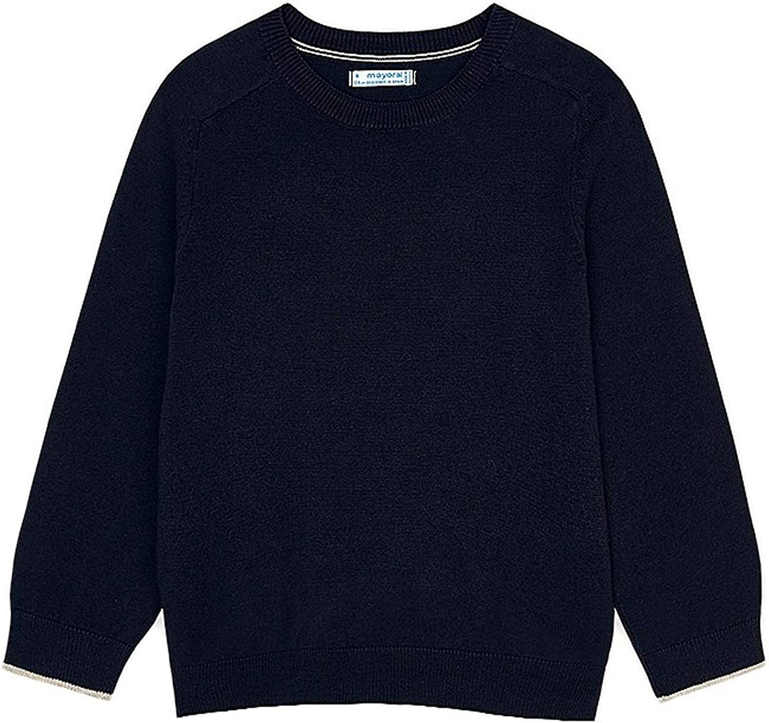 Mayoral - Basic Cotton Sweater w/Round for Boys - 0323, Navy