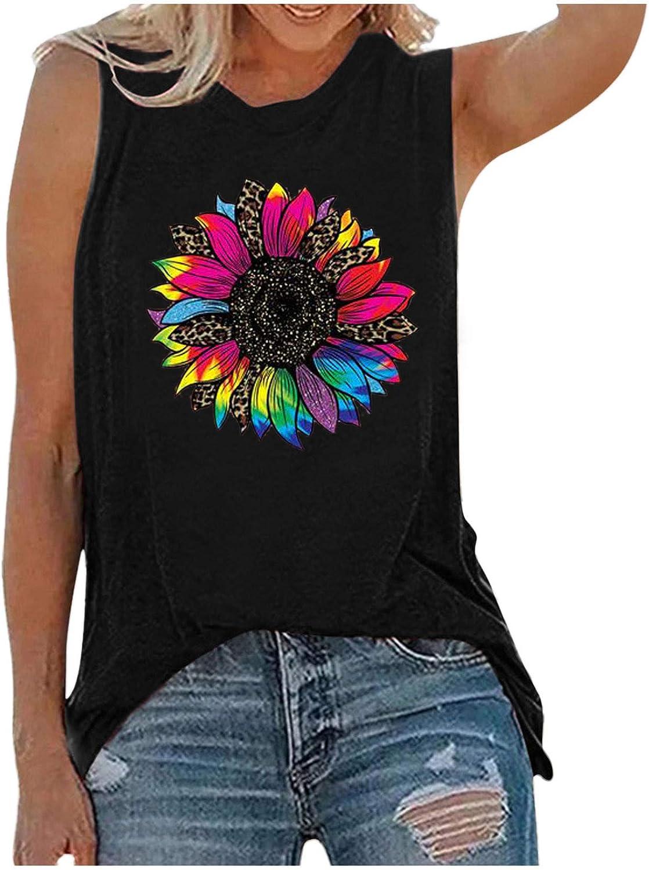 Womens Tops Summer Trendy,Women Tank Tops Summer Casual T-Shirt Loose O-Neck Sleeveless Tanks Tops