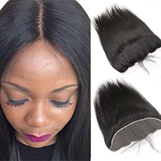 (46cm ) - Sunday Hair Grade 7A Lace Frontal Closure 13x 4 Ear To Ear Bleached Knots Full Lace Frontal With Baby Hair Brazi...