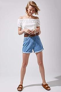 DeFacto Normal Bel Jean Şort Mavi 42
