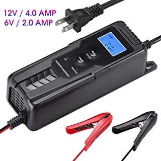LOHOTEK 6V/12V 4A Automatic Battery Charger Maintainer with Cable Clamps Smart Repair Charger for Car Boat Lawn Mower Sealed Lead Acid Battery