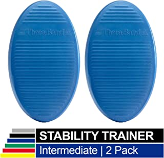TheraBand Stability Trainer Pad, Intermediate Level Blue Balance Trainer & Wobble Cushion for Balance & Core Strengthening, Rehabilitation, Physical Therapy, Round Sport Balance Trainer