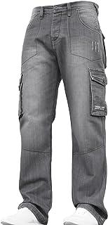 New Mens Designer Branded Heavy Duty Multi Pocket Dark Cargo Combat Denim Jeans Pants All Waist and Leg Sizes