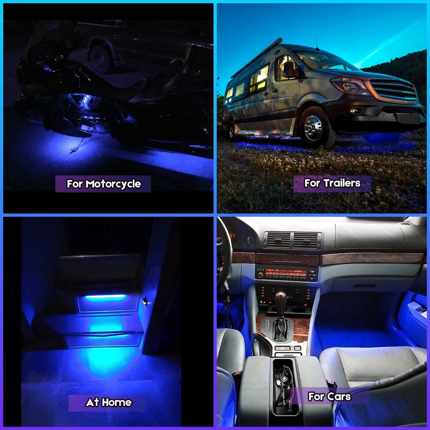 Geeon 8-Pack 8 Blue Motorcycle LED Strip Light 12V Waterproof IP68 for Interior Exterior Automotive Car Trucks Boats Trailer
