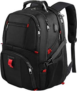 Travel Backpacks for Men, Extra Large College School Laptop Bookbags with USB Charging Port,TSA Friendly Water Resistant Business Computer Bag with Luggage Sleeve Fit 17 Inch Laptop 45L,Black