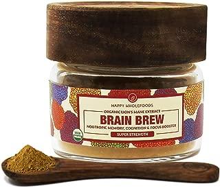 Brain Brew Lions Mane Powder - Lions Mane Mushroom Extract - High Potency USDA Certified Organic Lions Mane - Boosts Memory, Optimizes Brain Function, Improves Nerve Health - 1oz (30g)