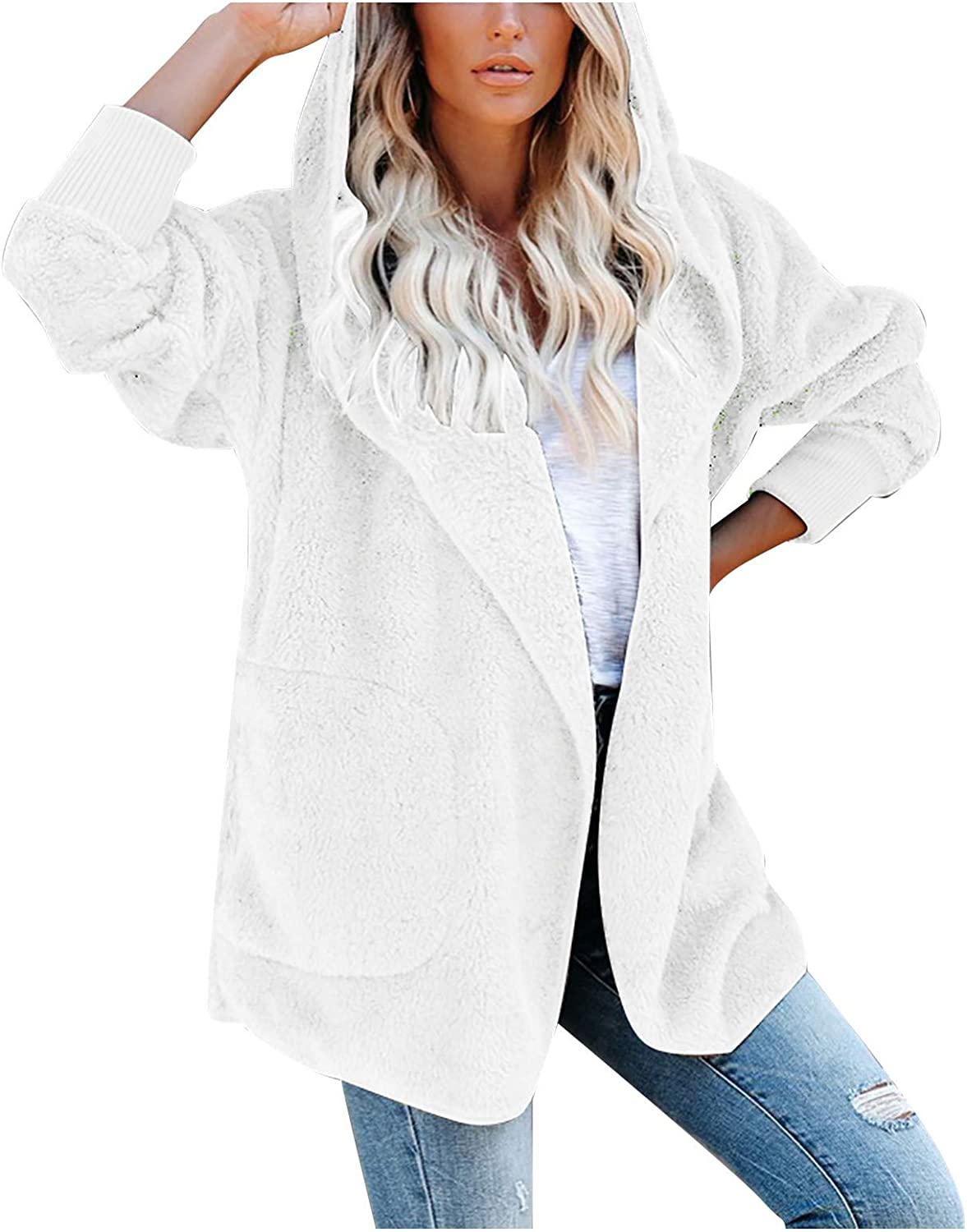 Forwelly Women Open Front Cardigan Oversize Coat Winter Warm Fluffy Plush Jacket with Hooded
