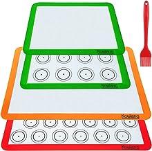 Koulang Reusable Silicone Baking Mats - BPA Free Nonstick Macaron Baking Mat Sets 4 Pack Large and Small with Oil Brush Pr...
