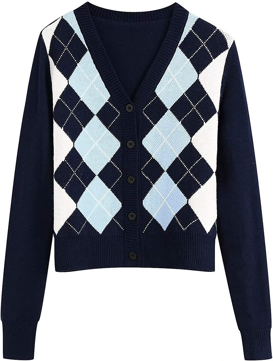 Womens Cardigan Sweater Argyle Long Sleeve V Neck Knit Button Up Sweaters Tops Shirts