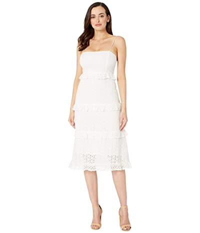 American Rose Reeve Eyelet Tiered Midi Dress (White) Women