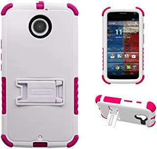 Beyond Tri-Shield Case for Motorola Moto X 2nd Gen - Retail Packaging - White/Hot Pink