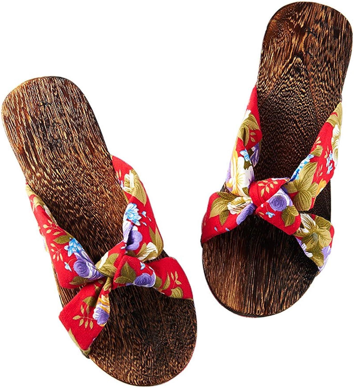 DYFYMX Hiratsana Wooden Slippers, Japanese-Style Wooden Slippers. Non-Slip Flat Slippers. Fashion A, Size   EU39 UK6.0 CN39