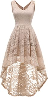 Women's Sleeveless Hi-Lo Lace Formal Dress Cocktail Party Dress V Neck