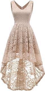 MuaDress Damen Kleid Ärmellose Cocktailkleider Knielang Abendkleider Elegant Spitzenkleid V-Ausschnitt Asymmetrisches Brautjungfernkleid
