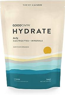 GOODONYA Hydrate Organic Electrolyte + Mineral Powder, Lemon, 0g Added Sugar, Clean & Natural Hydration (20 Servings)