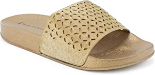RF ROOM OF FASHION Women's Fashion Velvet Single Strap Band Slides - Slip On Flat Sandals - Soft Footbed Slippers