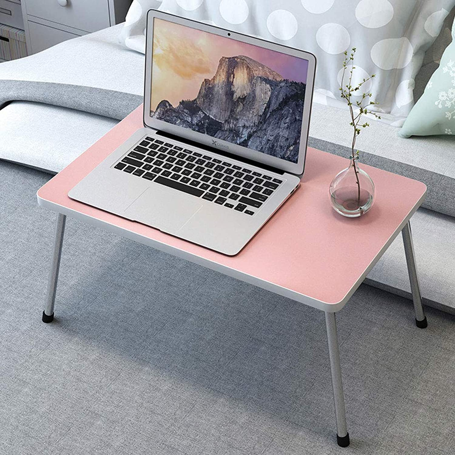 ZDD Folding Table- Student Foldable Computer Desk, Home Bed Dormitory Study Desk (color   Pink, Size   40x30x25.5cm)