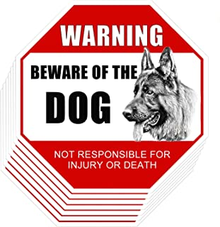 Beware of Dog Sign, YTFGGY 10 Pack Dog Warning Signs, Not Responsible for Injury Or Death Warning Dog Sign, Self Adhesive Vinyl Decal Stickers UV Protected & Weatherproof - Indoor & Outdoor Use