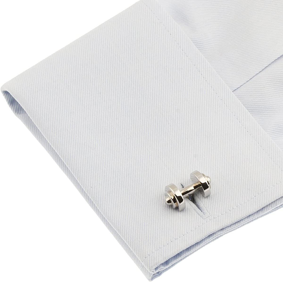 Dumbbell Cufflinks Barbell Weight Lifting Trainer Cross Fit Cuff Links