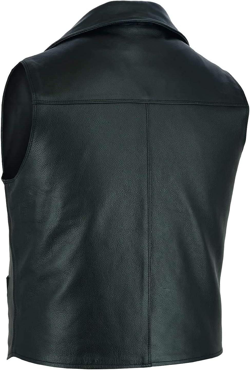 K Sports Mens Classic Cowhide Leather Vest Biker Vest Concealed Carry Durable Vest Fahionable Vest-2XL