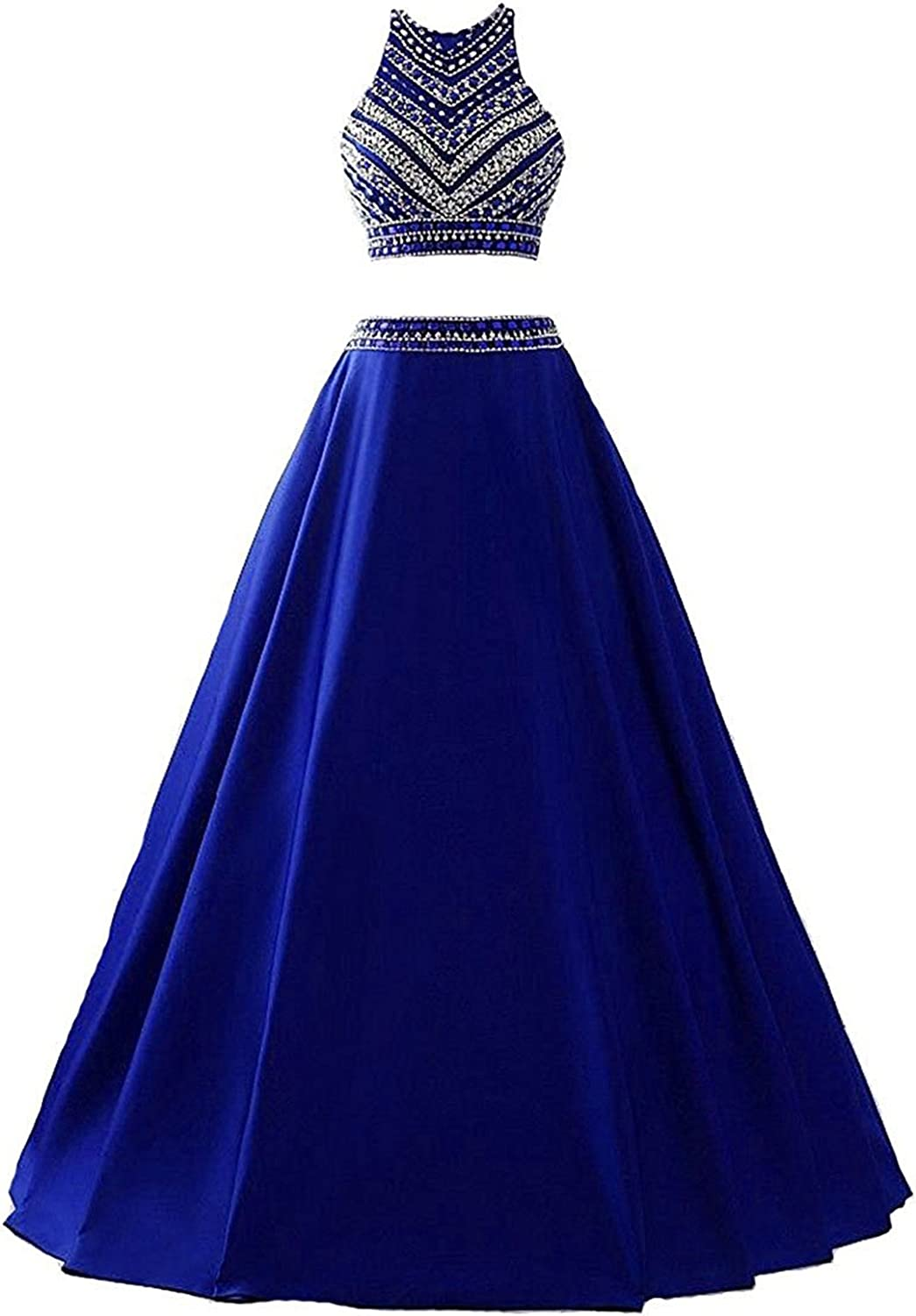 KAMA BRIDAL Women's Two Pieces Beaded Prom Dresses Long Satin Sequined Evening Gowns