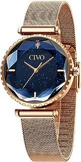 CIVO Relojes Mujer Reloj Pulsera Acero Inoxidable Malla Starry Sky Impermeable Oro Rosa Plata para Mujer Señoras Plata Ele...