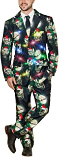 Life of the Party Men's Ugly 3 Piece LED Light Up Christmas Sweater Suit (3 Cat Santa Moon, XX-Large (50-52))
