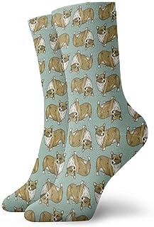 Elsaone, Corgi Dog Cute Pattern Calcetines de vestir Calcetines divertidos Calcetines locos Calcetines casuales para niñas Niños