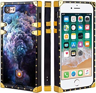 Square Phone Case for iPhone 7/8 [6.5 inch], Soft TPU Protective Gold Black Cover for Women Girls Galaxy Steam Train Space Smoke Planet nebular Forest Magic Green Leather Train