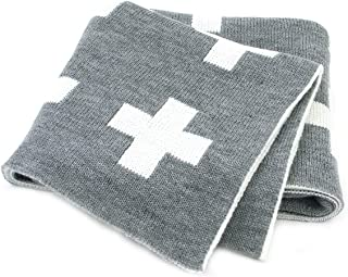 mimixong Baby Blankets Knitted Toddler Blankets Black and White with Cross Swiss Pattern for Boy and Girl 30×40 Inch Grey