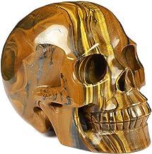 "Skullis 5.0"" Colorful Tiger Iron Eye Crystal Skull, Hand Carved Gemstone Fine Art Sculpture, Reiki Healing Stone Statue.788"