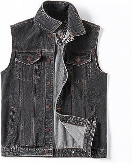 GAOHONGMEI Mens Plus Size Loose Denim Vest Casual Vintage Sleeveless Jacket Cowboy Waistcoat Gilets Jeans Outwear 002-6XL