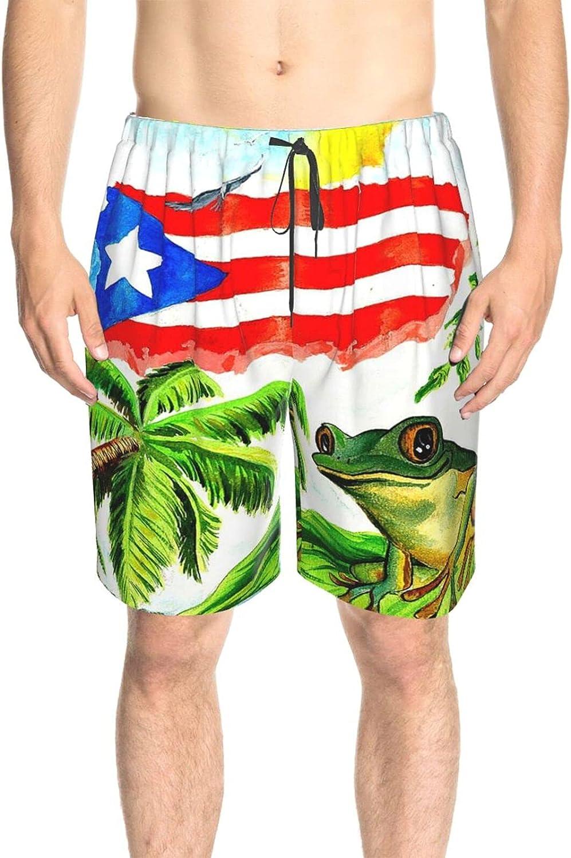 Feim-AO Mens Swim Trunks Good Sleep Puerto Rico'S Frog Breathable Beach Shorts Athletic Board Shorts Quick Dry with Pockets
