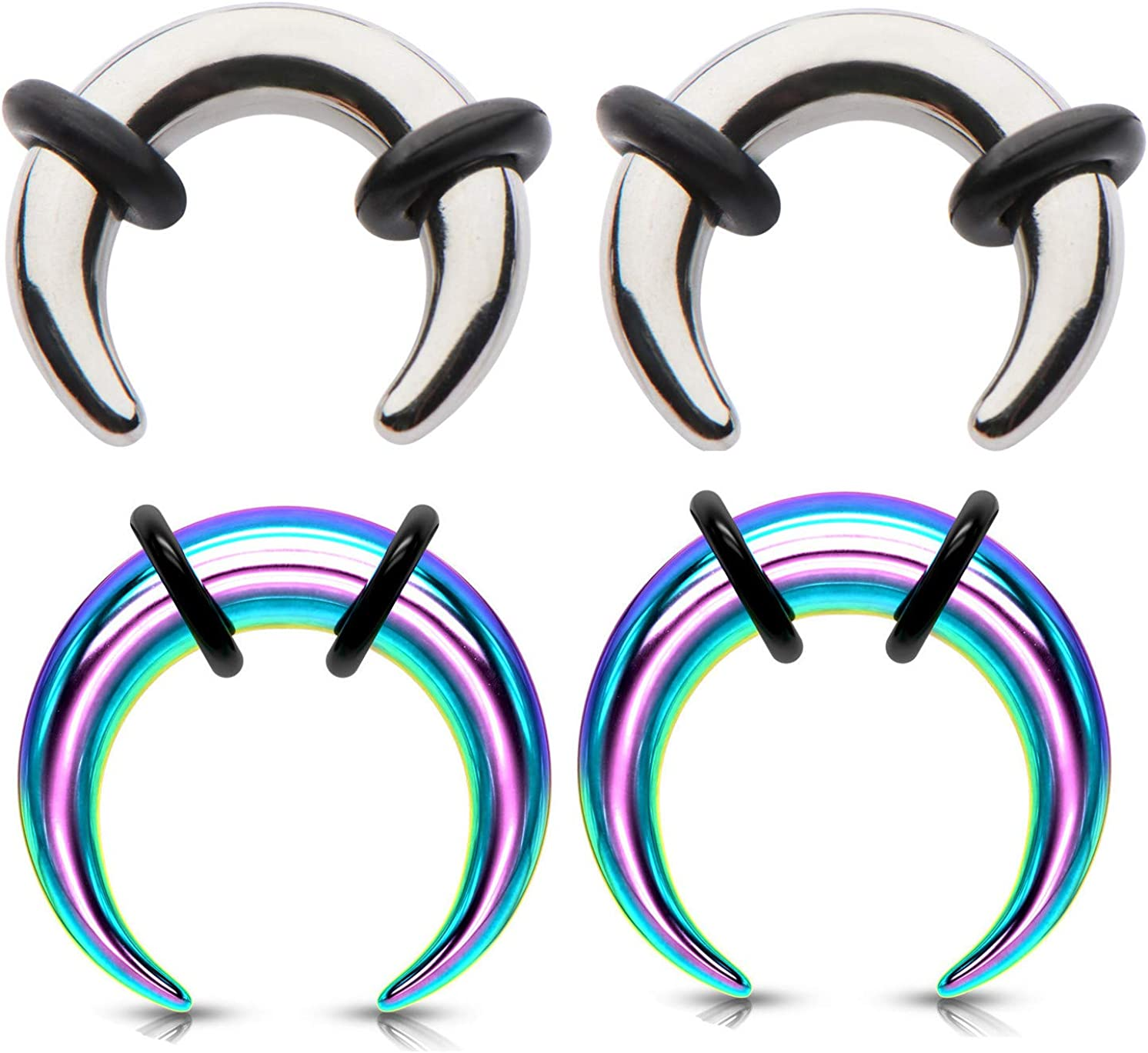Zaya Body Jewelry 2 Pairs Steel Rainbow Ear Plugs Tapers Pinchers Horseshoes Gauges 0g 2g 4g 6g 8g 10g 12g 14g