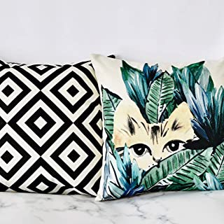 PANDICORN Set of 2 Summer Tropical Palm Leaves Cat Decorative Pillows Covers, Modern Boho Linen Throw Pillow Cases with Black Geometric Diamond for Outdoor Couch, 18 x 18 Inch
