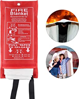 Fire Blanket Emergency Survival Fiberglass Protective Blanket Flame Retardant Heat Insulation Safety Fire Cover Shelter Welding Blanket for Car Kitchen Fireplace Grill Camping